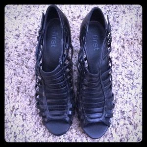Rare Black Gladiator Open Toe Shoe by first